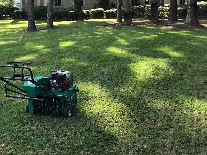 Aurora property getting serviced for lawn aeration